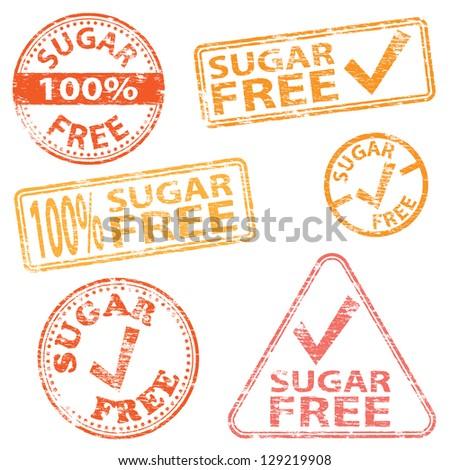 Sugar free food. Rubber stamp illustrations