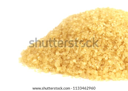 sugar, granulated sugar, heap of sugar, granulated from sugar cane on white background (selective focus)