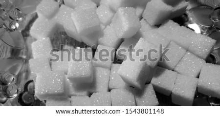 Sugar. Granulated sugar. Sugar cubes.