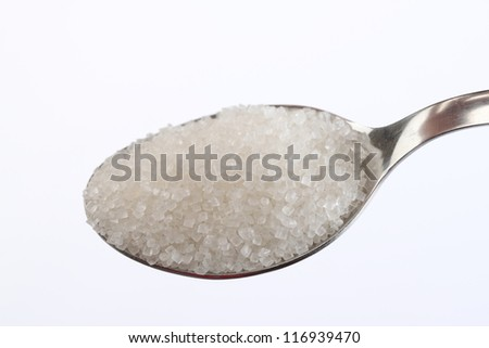 sugar on a teaspoon isolated on white background