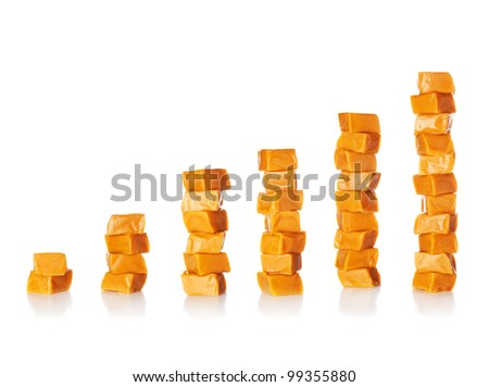 Sugar or sweet consumption is growing - Caramel candy square shape stacks isolated on a white background