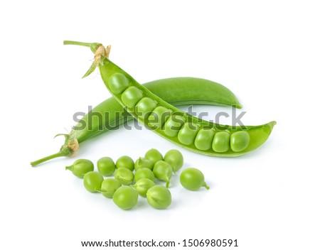 Sugar Pea, Pisum sativum  isolated on a white background. Photo stock ©