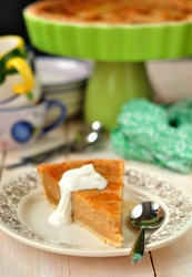 Sugar Pie, a traditional pie of French, Belgian, American and Canadian cuisine