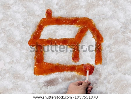 Sugar Shack Maple Syrup and taffy or sweet boiled tree sap on snow as a traditional spring season food culture from Quebec Ontario Canada and New England made in country shacks. Photo stock ©