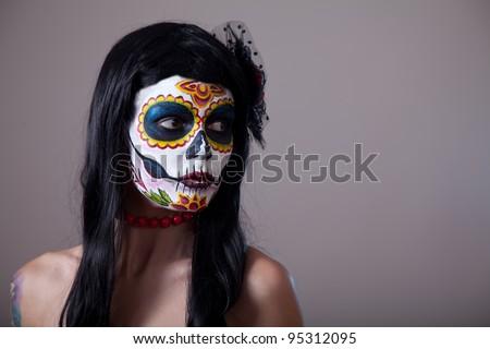 Stock Photo Sugar skull girl portrait, studio shot