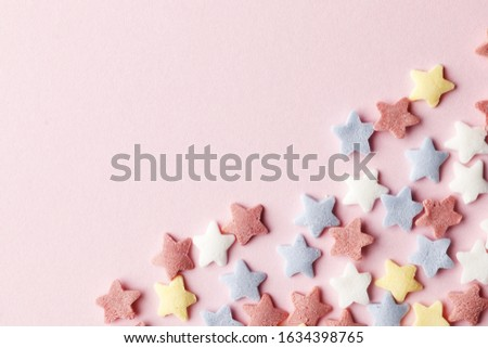 Sugar sprinkle dots, decoration for cake and bakery, a lot of sprinkles as a background. Easter holiday. Birthday celebration.