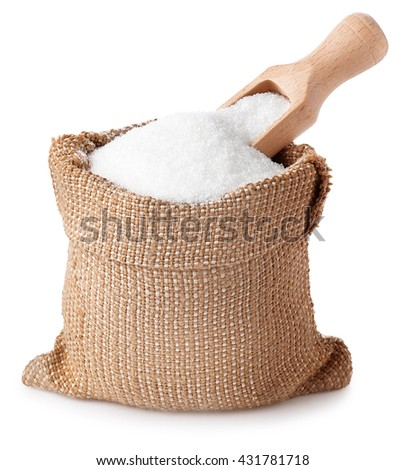 sugar with scoop in burlap sack isolated on white background. Full bag of sugar crystals closeup #431781718