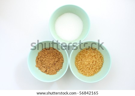 Suger 3 type, brown suger, crystalline sugar and granulated sugar.