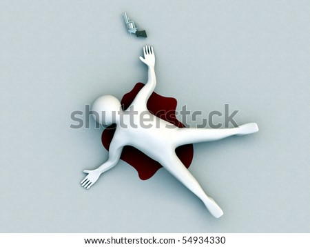 suicide man isolated on white background