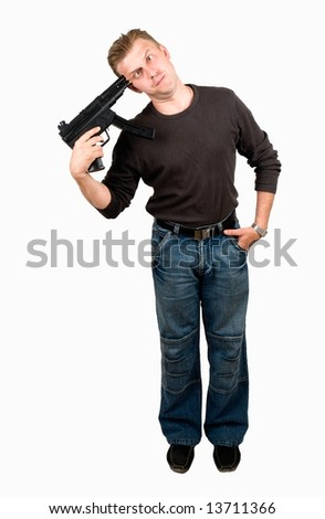 Suicide. The mad guy with submachine gun on a white background.