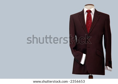 Suit on mannequin.