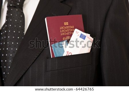 Suit with passport, money and credit card