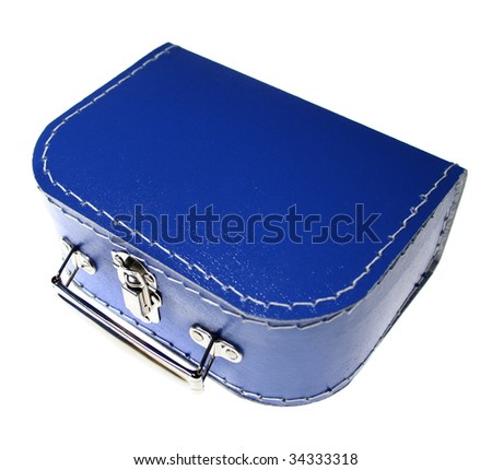 suitcase for child in blue isolated on white. container for packing to go on holiday