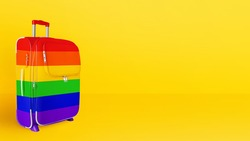 Suitcase LGBTQ community flag colors, rainbow baggage, colorful luggage, trolley bag yellow background, LGBT pride people travel banner, gay, lesbian etc summer holidays, vacation, tourism, copy space