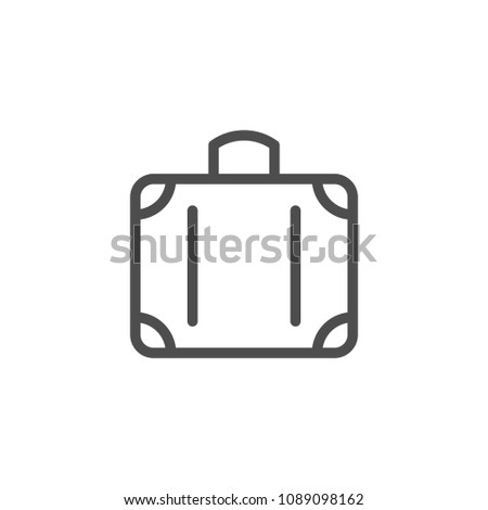 Suitcase line icon isolated on white