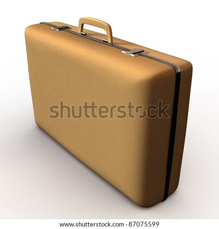 suitcase of brown color leather