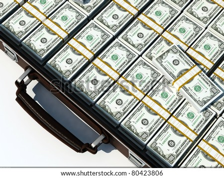Suitcase of dollars on a white background.