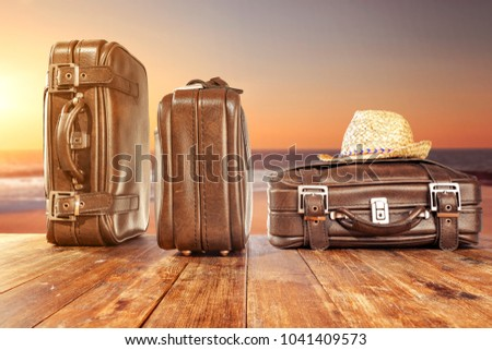 Suitcase of travel time and free space for your decoration.  - Shutterstock ID 1041409573