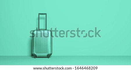 Suitcase on pastel background. Travel baggage concept. Minimal style. Copy space. Holiday, rest, recreation, relaxation. 3D rendering illustration.Modern trend color 2020-Aqua Menthe Stock photo ©