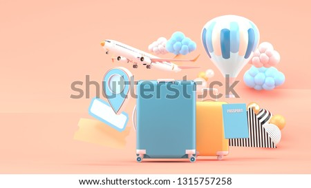 Suitcase surrounded by air tickets, airplanes, balloons and location icon on a pink background.-3d rendering.