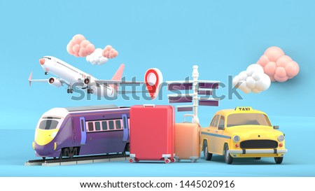 Suitcase surrounded by taxis, electric trains and planes on a blue background.-3d rendering.