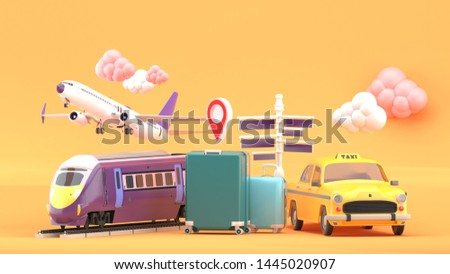 Suitcase surrounded by taxis, electric trains and planes on an orange background.-3d rendering.