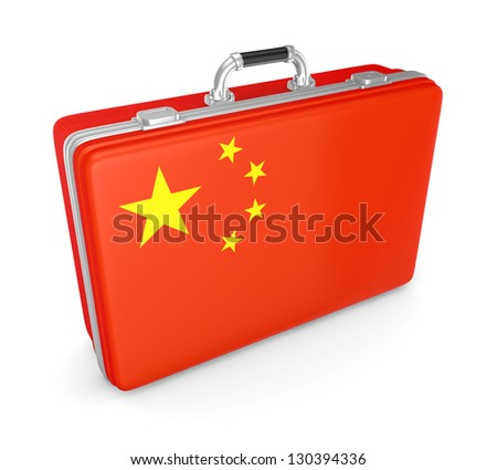 Suitcase with flag of China.