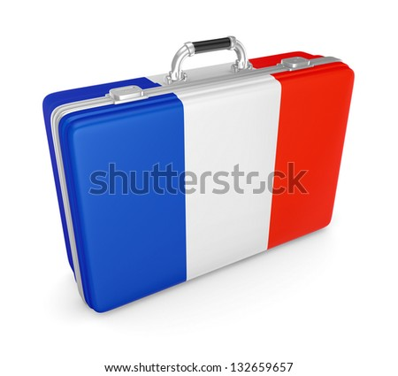 Suitcase with flag of France.
