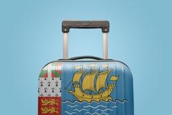 Suitcase with Saint Pierre & Miquelon flag design travel America concept.