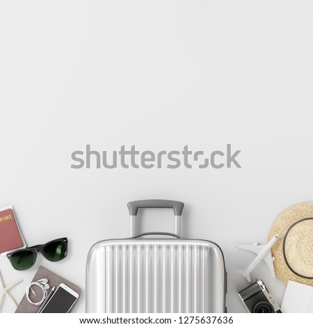 Suitcase with traveler accessories on white background. travel concept. 3d rendering