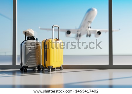 Suitcases in airport. Travel concept. 3d rendering