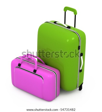 Suitcases isolated on a white background