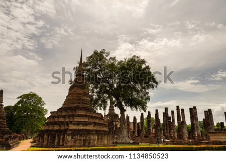 Sukhothai Historical Park, a historic site, Landmark  And a major world heritage in Thailand. to travel concept #1134850523