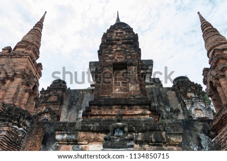 Sukhothai Historical Park, a historic site, Landmark  And a major world heritage in Thailand. to travel concept #1134850715