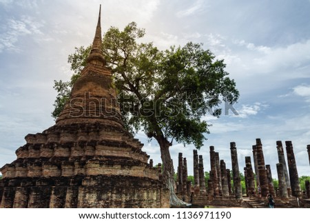 Sukhothai Historical Park, a historic site, Landmark  And a major world heritage in Thailand. to travel concept #1136971190