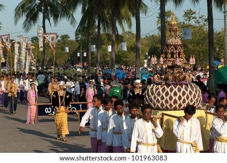 SUKHOTHAI, THAILAND - NOV 10: Loy Krathong festival in Sukhothai.People parade in Loy Krathong festival.on November 10,2011 in Sukhothai, Thailand. - stock photo