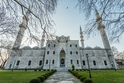 Suleymaniye mosque and its view from the front. Istanbul, Turkey.