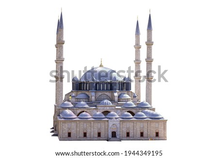 Suleymaniye Mosque isolated background. mosque front viewed