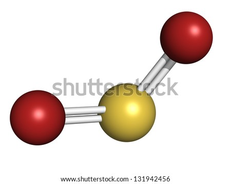 Sulfur dioxide (sulphur dioxide, SO2) gas, molecular model. SO2 (E220) is also used in winemaking. Atoms are represented as spheres with conventional color coding: sulfur (yellow), oxygen (red)
