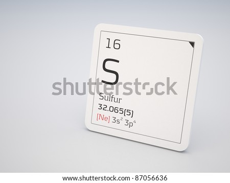 Sulfur - element of the periodic table - stock photoElement Sulfur Periodic Table