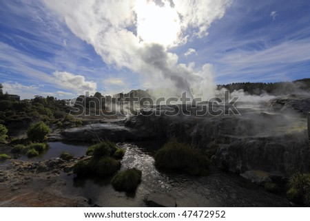 Sulfur fumarole in active volcanic crater ,new zealand