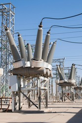 sulfur hexafluoride circuit breakers group of electric power line Sf6 circuit breakers in geothermal power substation with current transformers and insulators