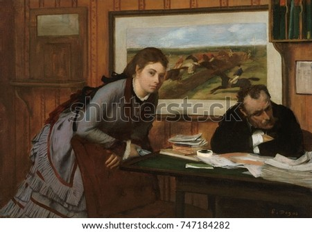 Sulking, by Edgar Degas, 1870, French impressionist painting, oil on canvas. The writer Edmond Duranty and model Emma Dobigny, posed for this early genre scene, set in an office