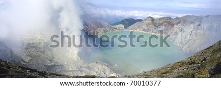 Sulphatic lake in a crater of volcano Ijen. Java. Indonesia
