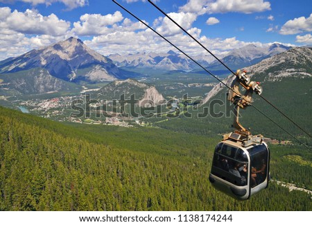 Sulphur Mountain Gondola cable car in Banff National Park in the Canadian Rocky Mountains overlooking the town of Banff. The mountain with the hot springs. Perfect image for travel and tourism.