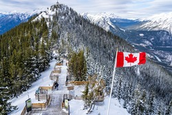 Sulphur Mountain trail, wooden stairs and boardwalks along the summit. Banff National Park, Canadian Rockies. AB, Canada