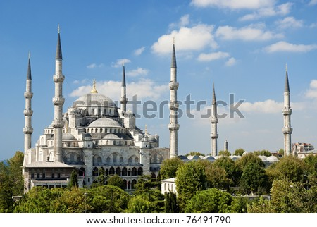 sultan ahmed mosque exterior in istanbul turkey