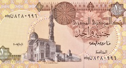 Sultan al-Ashraf Qaytbay Mosque in Cairo. Portrait from Egypt 1 Pound 1996 Banknotes.