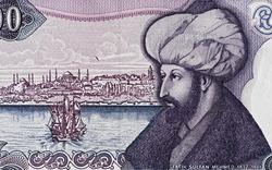 Sultan Mehmed II the Conqueror portrait on turkish 1000 lira banknote macro, Turkey money closeup