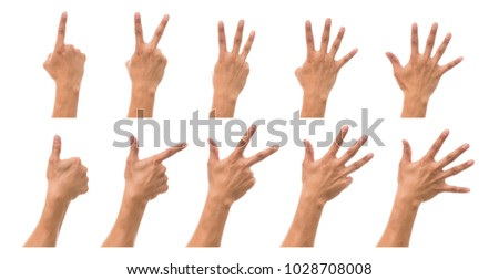 Sum 10 picture of Men hand in back side with show number collection over white background, include clipping path
